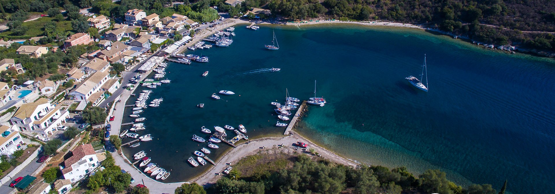 Aerial View of San Stefano North East harbour between Kassiopi and Nissaki